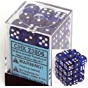 Blue with White Spots Translucent 12mm 6 Sided Dice 36