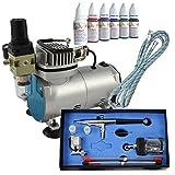Profi Airbrush Set Kompressor Compact I mit 6*30ml Farben Set