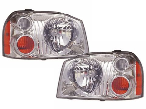 Nissan Frontier Base/XE Aluminum Bezel Headlights Set Headlamps Pair (2003 Nissan Frontier Xe compare prices)