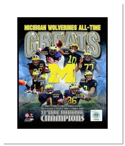 All About Autographs AAA-11606m Michigan Wolverines All Time Greats NCAA Double Matted 8x10 Photograph National Champs Collage