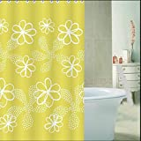 D-Home Printedn Yellow Floralwhite Pattern ,Bathroom Mildew Proof Polyester Fabric 72inchx78inch/180cmx200cm(w*h) Shower Curtain.
