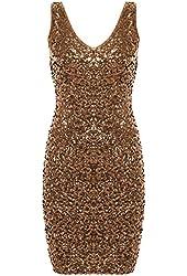PrettyGuide Women Sexy Deep V Neck Sequin Glitter Bodycon Stretchy Mini Party Dress