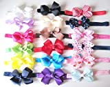 Baby Girls Hair Bows Soft Headband Hairband Hair Band Accessories (Red White Stripe)