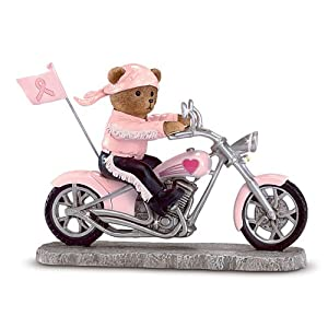 Headed For A Cure Breast Cancer Teddy Bear Biker Figurine by The Hamilton Collection