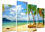 PICTURE - Multi Split Panel Canvas Artwork Art - Tropical Beach Blue Sky Clouds Sea Ocean Golden Beach Palm Trees - ART Depot OUTLET - 4 Panel - 101cm x 71cm (40