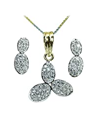 WomanWa Cluster Of Diamonds Earrings With Matching Pendant