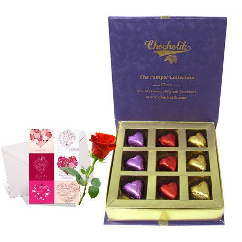 Valentine Chocholik's Luxury Chocolates - Biggest Love Treat Of Wrapped Chocolates With Love Card And Rose
