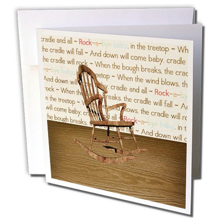 Gc_192616_2 Beverly Turner Baby Stuff Design - Wooden Rocking Chair, Rock A Bye Baby Wallpaper Room - Greeting Cards-12 Greeting Cards With Envelopes front-63739