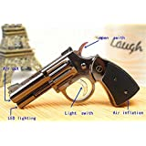 FengFang anti-gun lighters LED lighting pistol model reusable inflatable butane cigar lighter