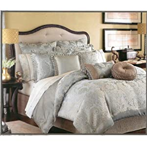 Greenwich Aqua Blue and Gold Paisley King Comforter Set