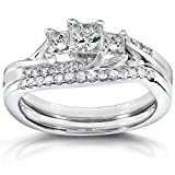 Diamond Wedding Ring Set 3/5 carat (ctw) in 14k White Gold