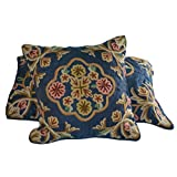 Crewel Pillow Sham Artful Florals Silky Royal Blue Silk Organza Standard