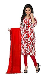 Kavya Trend Women's American Crepe Dress Material (Red and White)