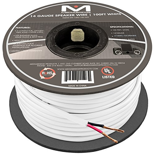 14AWG 2-Conductor Speaker Wire (100 Feet, White) by Mediabridge – 99.9% Oxygen Free Copper – UL Listed CL2 Rated for In-Wall Use (Part# SW-14X2-100-WH )