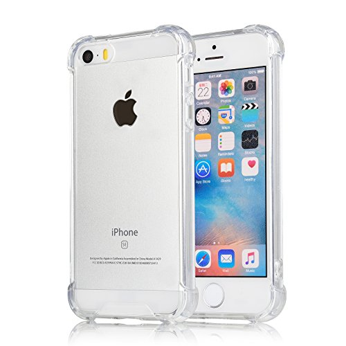 [Crystal Clear] iPhone 5 / 5s / SE Case, iXCC Cover Case [Shock Absorption] with Transparent Hard Plastic Back Plate and Soft TPU Gel Bumper - Clear (Cute Iphone 5s Bumper Cases compare prices)