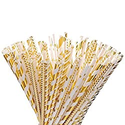 Gold Paper Straws, Outee 125 PCS Party Straws Gold Star Straws | Gold Strip Straws | Gold Dot Straws | Gold Wave Straws | Baby Shower Straws