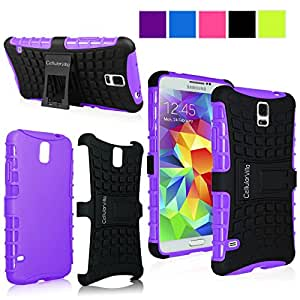 Cellularvilla Samsung Galaxy S5 Mini SM-G800 Purple Black Tough Hard Soft Heavy duty Rugged 2 in 1 Combo Hybrid Dual Layer Grip Protection Case Cover Protector with Build in Kickstand