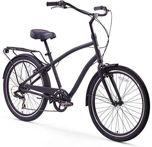 Find Discount Sixthreezero EVRYjourney Men's 26-Inch 7-Speed Sport Hybrid Cruiser Bicycle, Matte Bla...