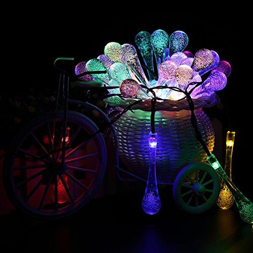 Solar Outdoor String Lights,URPOWER 20ft 30 LED Water Drop Solar String Fairy Waterproof Lights ...