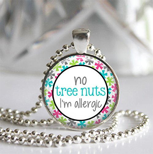 no-tree-nuts-im-allergic-silver-bezel-glass-tile-pendant-necklace-allergy-alert-medical-jewelry