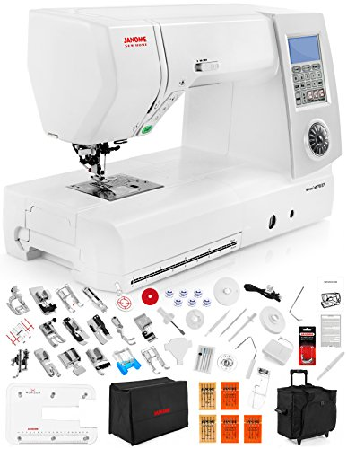 Janome New Home Memory Craft 7700 QCP Computerized Sewing Machine w/ Extension Table + Trolley + Semi-Hard Cover + Cloth Guide + Much More! (Janome Single Hole Plate compare prices)