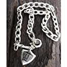 Mens stainless steel metal chain necklace - crown shield pendant