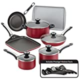 Farberware High Performance Nonstick 17-Piece Cookware Set, Red