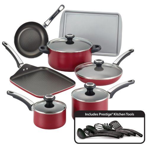 Farberware High Performance Nonstick Aluminum 17-Piece Cookware Set, Red (Red Pans And Pots compare prices)