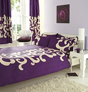 Purple Cream King Size Duvet Set With Matching Curtains Kitchen Home