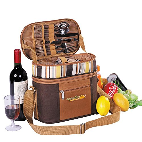 Review Apollowalker Picnic Backpack for 2 person Cutlery Set for Picnic, Outdoor, Sports, Hiking, Ca...