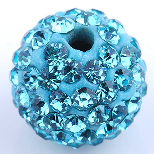 Amazing Disco Balls Clay Beads 8MM Aquamarine Light Blue Pave Czech Crystal Rhinestones fit Shamballa Premium Quality - 20pcs DIY By eART