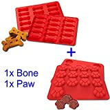 Gybest Bandejas de alimentos grado grandes Mats 2unidades, Cachorro Mascotas Perro Paws & Bones Dog Treats Baking Moldes, Hornear de silicona para mascotas, Nios, dog-lovers, cocina Consejos