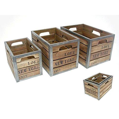 Juego 3 Cajas Antigua Madera y Metal Ney York G:34X23.5X20-P:25X16X16C