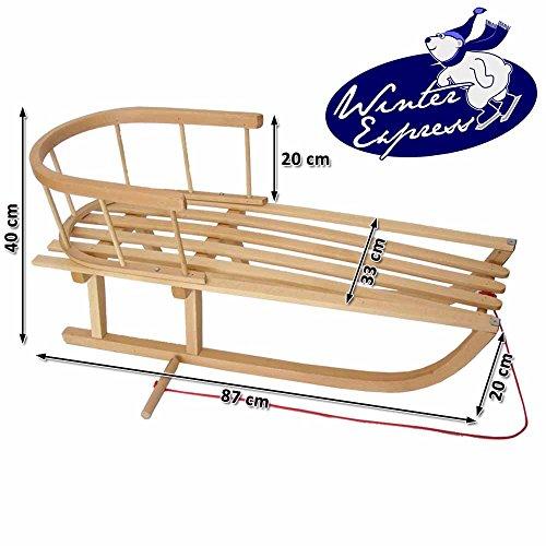 Winterexpress Holzschlitten mit Rückenlehne + Zugleine - Lehne -Kinderschlitten - Schlitten aus Holz Kinderschlitten NEU