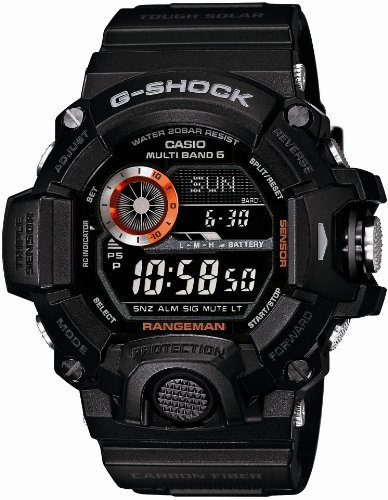Casio Men's GW-9400BJ-1JF G-Shock Master of G Rangeman Digital Solar Black Carbon Fiber Insert Watch