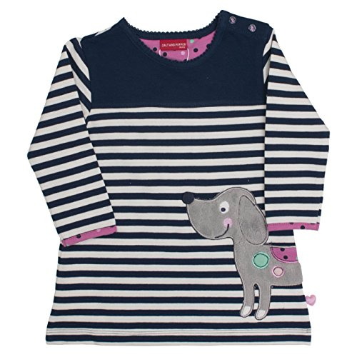 SALT AND PEPPER B Dress Little Ones Stripe, Vestito Bimbo, Blau (Dutch Blue 465), 9 mesi