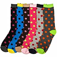 Luxury Divas Brightly Colored Multi Polka Dot Print Assorted 6 Pack Crew Socks