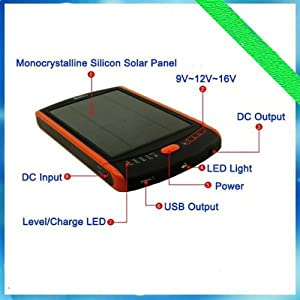 CrazyFire MP-S23000 Power Bank - Portable Mobile External Battery Charger with Solar Panel and 23000mAh - USB Output 5V 1A and DC Output 9V/12V/16V 2 A - For Tablet, Notepad, Cell Phone, Smart Phone, iPhone, iPod, PDA, MP3-Player - 20 Connectors Included