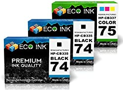 ECO INK © Compatible / Remanufactured for HP 74 HP 75 CB335WN CB337WN (2 Blk + 1 Clr) Ink Cartridges for Photosmart C4210, C4340, C4480, C5273, C4235, C4342, C4494, C5275, C4240, C4343, C4524, C5280, C4250, C4344, C4540, C5283, C4270, C4345, C4550, C5288, C4272, C4380, C4575, C5290, C4273, C4382, C4580, C5293, C4275, C4383, C4583, C5540, C4280, C4384, C4585, C5550, C4283, C4385, C4588, C5580, C4285, C4410, C4599, D5345, C4288, C4424, C5200, D5360, C4293, C4435, C5240, D5363, C4294, C4440, C5250, D5368, C4300, C4450, C5270, Deskjet D4200, D4260, D4268, D4360, D4245, D4263, D4280, D4363, Officejet J5700, J5740, J5788, J6424, J5725, J5750, J5790, J6450, J5730, J5780, J6405, J6480, J5735, J5783, J6410, J6488, J5738, J5785, J6413