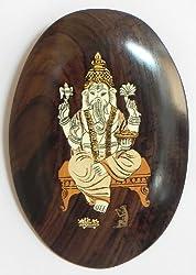 DollsofIndia Lord Ganesha - Inlaid Rosewood Wall Hanging - 8.5 x 5.5 inches