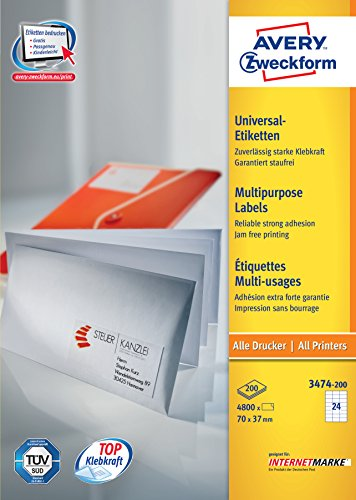 Avery Zweckform 3474-200 Lot de 3000 étiquettes universelles 70 x 37 mm pour imprimante laser et jet d'encre (Blanc) (Import Allemagne)