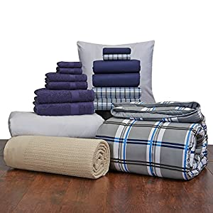 Guys Student Starter Pak - Twin XL Bedding and Bath Set (Color: Navy and Gibson Plaid)