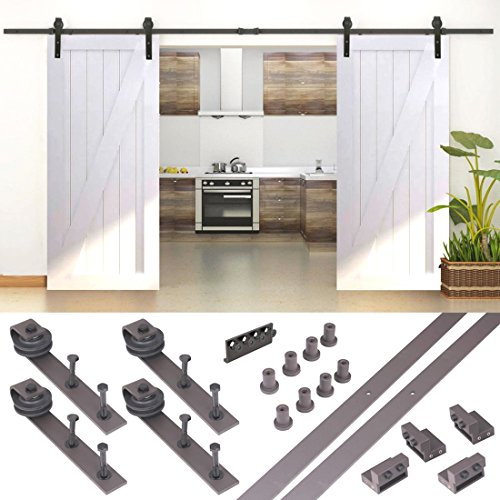 10FT Country Antique Dark Coffee Steel Sliding Barn Wood Door Hardware Track Set (French Door Barn Door Hardware compare prices)