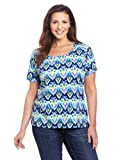51JKiyQ8m%2BL. SL160  Jones New York Womens Plus Size Short Sleeve Ikat Scoop