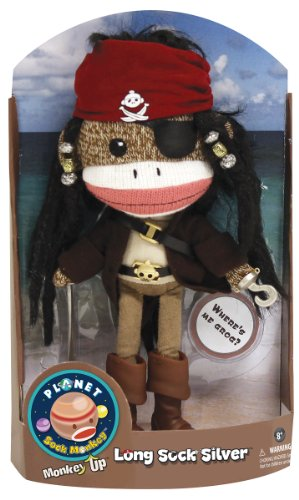 Planet Sock Monkey Doll - Long Sock Silver at 'Sock Monkeys'