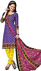 Tripssy Women's Cotton Printed Unstitched Salwar Suit (fb_dm_35, White)