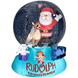 CHRISTMAS INFLATABLE 6' RUDOLPH AND SANTA SNOW GLOBE WITH MISFIT TOYS AIRBLOWN YARD PROP