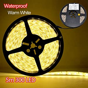 Besdata Waterproof Ultra Bright 16.4 ft 5 Meters DC 12V 3528 SMD 300 Leds Strips Light Flexible for Indoor Office Home Aircraft Cabin Decorative - Energy Saving - CE Approved - Warm White - PL706 from BESDATA