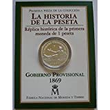 La Historia de la Peseta - Réplica 1ª Moneda 1 Peseta 1869 Moneda Plata - España