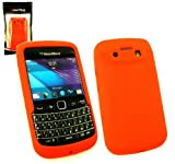Emartbuy® Blackberry 9790 Bold LCD Screen Protector And Silicon Skin Cover/Case Orange